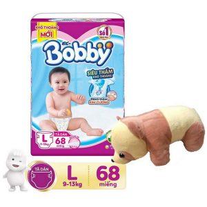 Tã dán Bobby size L68 (68 miếng) bé cân nặng 9-14kg