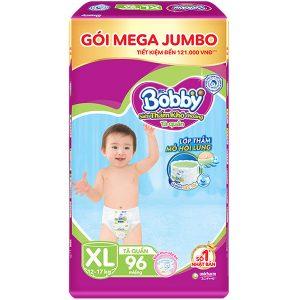 Tãbỉm quần Bobby đệm lưng thấm mồ hôi Mega Jumbo XL96 (12-17kg)