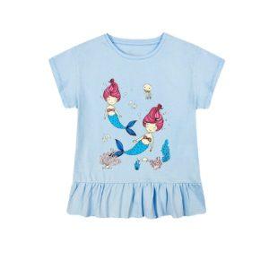 Áo Phông Bé Gái Size Đại Miss Meow Chất Cotton In nàng tiên cá màu xanh