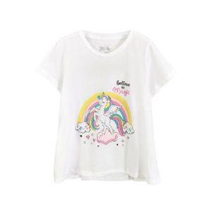 Áo Phông Bé Gái Size Đại Miss Meow Chất Cotton In ngựa cầu vồng màu trắng