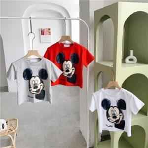 Áo Thun Mickey Cộc Tay Cotton Cực Chất Cho Bé - Bé Gái