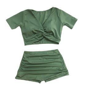 Bikini 2 mảnh quần cạp cao, áo croptop tay con xanh rêu