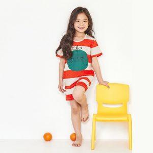 Đồ bộ cotton dễ thương Unifriend U21-01 cho bé trai, bé gái mùa hè -sọc quả xanh