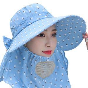 Mũ Nón rộng vành chống nắng cực mát có khẩu trang 2 lớp bảo vệ sức khỏe kèm dây thắt - XANH