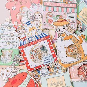 Set 40 Miếng Dán Hoạ Tiết Hoạt Hình Dễ Thương Dùng Trang Trí Sổ Tay Tạp Chí Sổ Nhật Ký Diy - 9.000đ